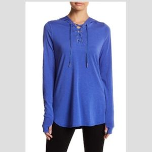 Nanette Lepore Blue Lace Up Pullover Hoodie NWT